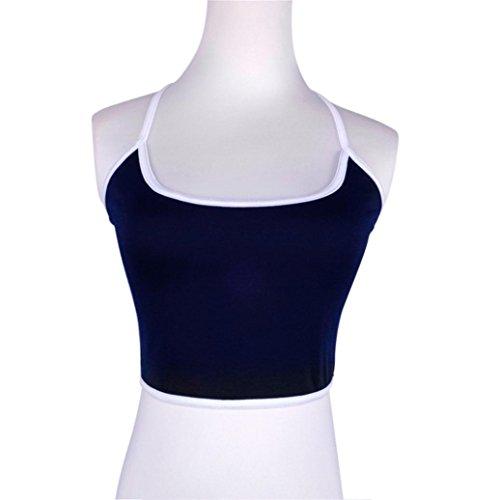 Gilet de Femme, Yogogo Femmes Tank Veste de soutien-gorge Crop Top Bralette Chemisier Bleu