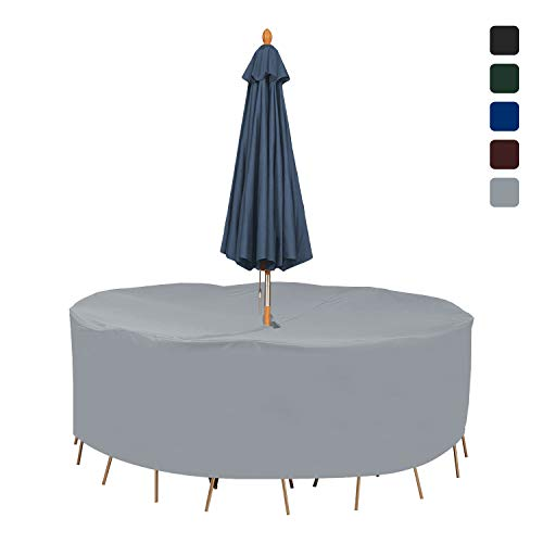 Patio Round Table & Chair Set Cover with Umbrella 18 Oz Waterproof - 100% UV & Weather Resistant Outdoor Table Cover with Air Pocket and Drawstring for Snug Fit (60