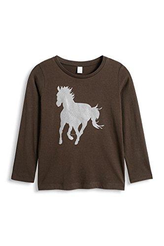 ESPRIT Mädchen Langarmshirt 105EE7K003, Animalprint, Herstellergröße: 104/110, Braun (DARK BROWN 200)