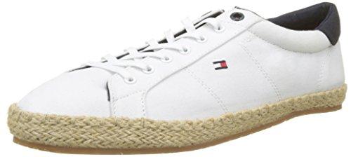 Tommy Hilfiger Herren Textile Lace up Espadrille Sneaker, Weiß (White 100), 43 EU