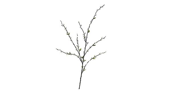 Artplants De Weidenkätzchen Kunstzweig Waldemar 55 Graue Blüten 24 Blättchen 120cm