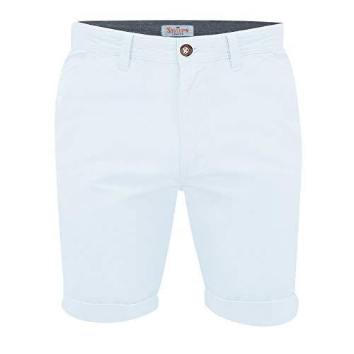 STALLION LONDON Herren Chino Shorts: Kurze Hose Bermuda Cargo für männer aus 100% Baumwolle Regular Sommer Fit (34, Weiß) Military Chino Hose