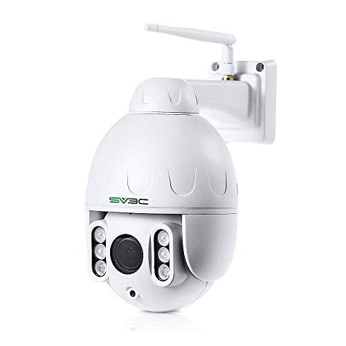 SV3C 1080P PTZ WLAN Überwachungskamera Aussen, WiFi IP Dome Kamera für Außen, 5X Optischer Zoom Outdoor Wasserdichter Sicherheitskamera mit Zwei-Wege-Audio, 60m IR-Nachtsicht, Bewegungserkennung Ptz-kamera