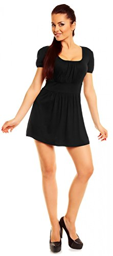 Zeta Ville- Damen Jersey Empire-Taille Shirt Kurzarm Tunika-Top Gr. 38-46 - 408z Schwarz