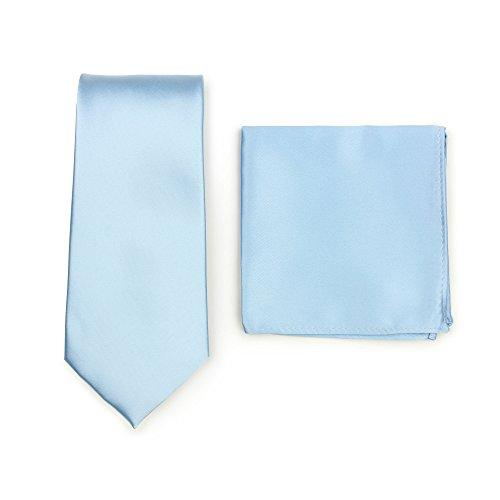 Puccini Krawatte + Einstecktuch Set Herren, Einfarbig, 20 Farben, Satin-Glanz, Handarbeit, Hochzeit - Alltag - Büro (Hellblau)