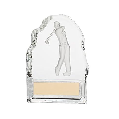Crystal Golf Figure Block Trophies 4.25 inch