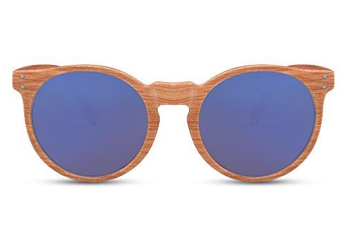ce72292086 Cheapass Gafas De Sol Madera Redondas Marrones Azul Espejadas UV-400 Retro  Vintage Hombres Mujeres