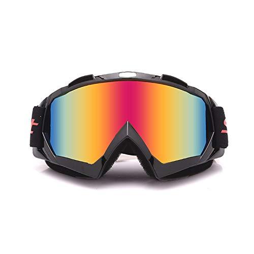 AmDxD TPU+PC Motorradbrillen Helmbrille Radbrille Set Snowboardbrille Fahrradbrille Schutzbrillen für Motorrad Fahrrad Helmkompatible, Schwarz Rot