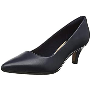 Clarks Women's Linvale Jerica Closed-Toe Pumps, Blue (Navy Leather), 6 UK (39.5 EU)