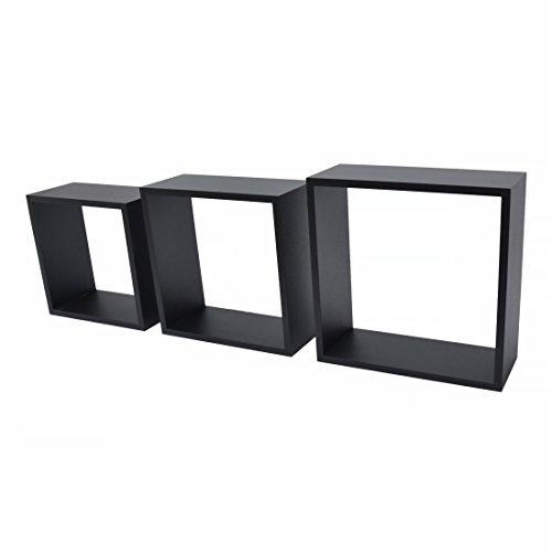 DURAline Étagère 3 Cubes, Noir, 1,2 x 24 x 24/1,2 x 27 x 27/1.2 x 30 x 30 cm, Lot de 3