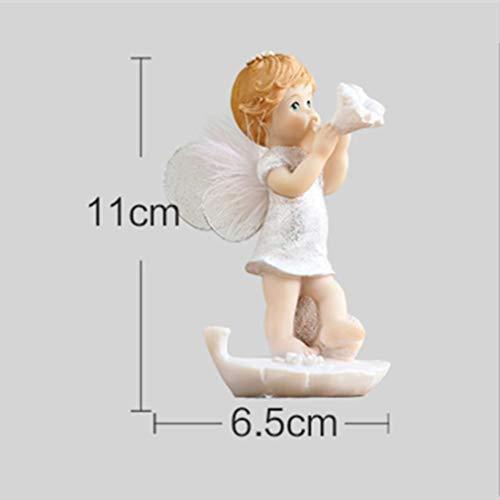 OYQQ Skulptur Statue 7 Stil Harz Handwerk Geeignet für Heimtextilien Kinder Kreative Geschenke, Baby Engel Trompete