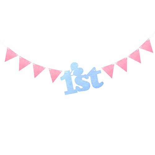 LUOEM 1. Geburtstag Banner String Bunting Wimpel Fahnen Baby 100 Tag Party Dekoration Lieferungen für Babys 1 Jahr alt Geburtstag Party (blaue Zahl, rosa Flagge)