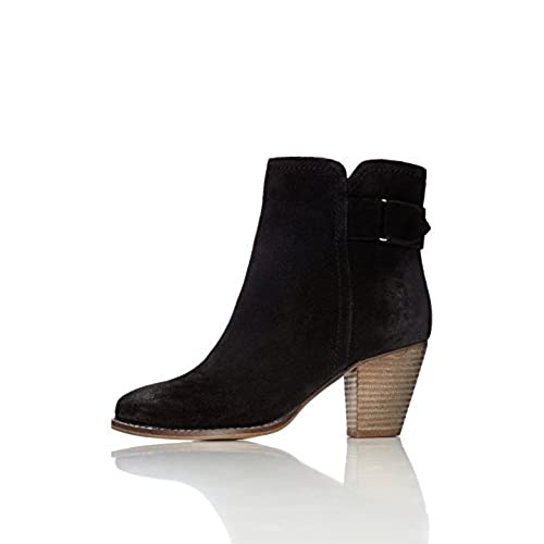 FIND Women's Maud Distressed Heeled Ankle Boots Black 4 UK (37 EU)