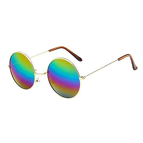 Holeider Sonnenbrille Rund Damen Verspiegelt Mode Damen Sonnenbrille Runder Rahmen Vintage Retro Brillen Fahren