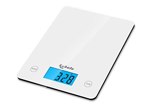 Kabalo In Bianca Digital Kitchen Scale, per la famiglia, il cibo, la cucina, di pesatura. 5kg capienza 5000g / 1g, batterie incluse! Design sottile, con Digital Display elettronico LCD con retroilluminazione blu
