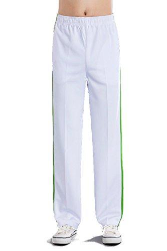 XCYG Damen Herren Running Hosen für Mädchen, Jungen, das in der Schule Schüler Valentines Paare, Freizeit, Sport Hose XXXX-Large Green Strip White Thin Thickness for Men Summer (1000 Thin)