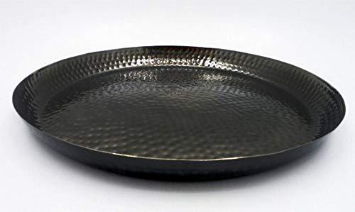 NOOR Handels GmbH Marokkanischer Metall Deko Teller Schale Tablett Schwarz Orientalisch Schwarz Schale