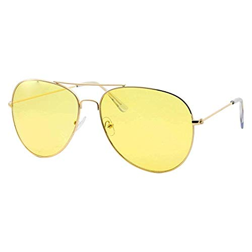 Night Vision Sunglasses, Unisex Glasses Anti-Glare Night Vision HD, Yellow Aviator Polarized Lens for Car