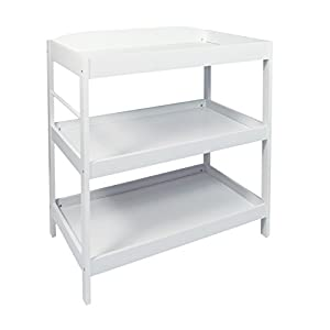 Woodluv Baby Changing Dresser Station Unit, Babys Changing Table Unit (Features Towel Rail) - White