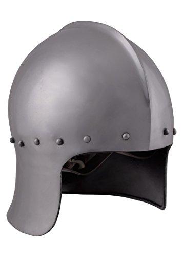 Battle-Merchant Englischer Bogenschützenhelm, 15. Jh. - 1,6mm Stahl mit Lederinlay - Mittelalter - LARP -