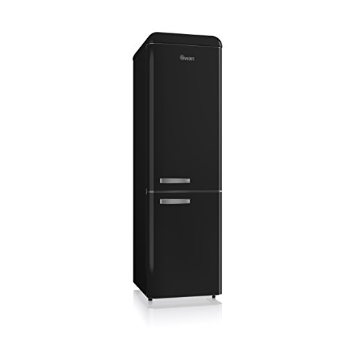 Swan SR11025BN, Freestanding Retro Slimline Fridge Freezer 70/30, 55cm wide, A+ Rated, 250 Litre, Matt Black