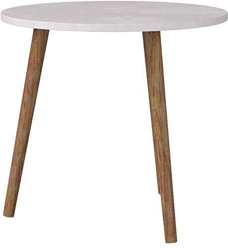 CLP Tavolino Rotondo da Salotto Kolding in Legno - Tavolo Soggiorno per  Divano o Porta Vasi in MDF e Legno di caucciù Bianco 60 cm