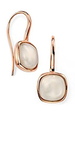Sterling Silver Cabochon Moonstone Earrings with Rose Gold Plated