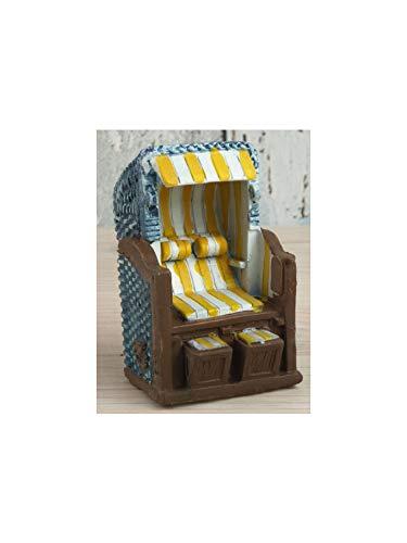 Maritim Mini Strandkorb gelb/weiß aus Poly ca. 6 x 4,8 x 4,5cm Deko Bad Deko