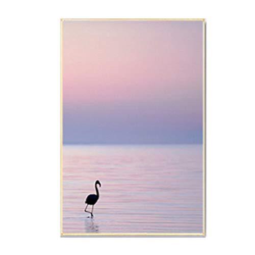 XWArtpic Schöne Sonnenaufgang Sonnenuntergang Seelandschaft Leinwand Malerei Poster und Drucke Skandinavien Wandkunst Bilder für Wohnzimmer Wohnkultur 40 * 50 cm