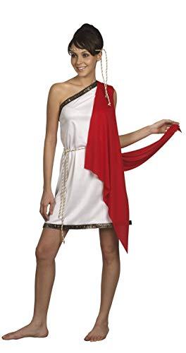 Nerd Clear Römische Göttin Kostüm für Frauen | Größe S | 3-teilig: Kleid mit rotem Umhang, Gürtel, Stirnband | ideal für Karneval & Fasching