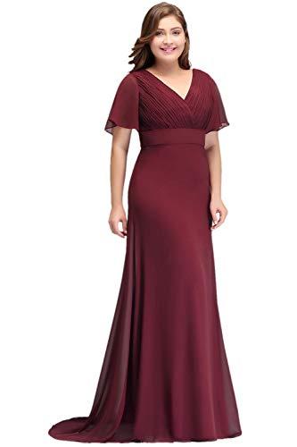 Misshow Ballkleid Damen v Ausschnitt Chiffon Rückenfrei Kleid Übergrößen Lange Abendkleider