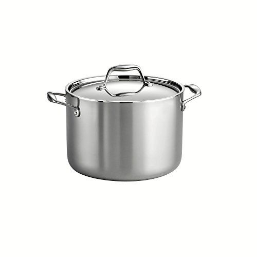 Tramontina 80116/041DS Gourmet 18/10 Stainless Steel Induction-Ready Tri-Ply Clad Covered Stock Pot, 8-Quart, Stainless by Tramontina 8 Quart Stock Pot