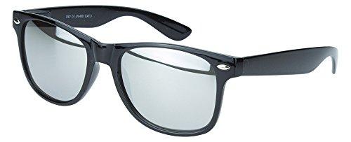 Sense42 | Retro Sonnenbrille | Vintage-Look für Damen und Herren | verspiegelte Gläser | mit Federscharnier-Bügel | schwarz, blau, gold, grün, orange, silber