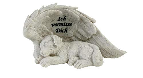Hundegrabstein mit Spruch Ich vermisse Dich Hundegrabschmuck Hundetrauerschmuck Gedenkstein für EIN Hund