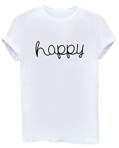 Yeesea Donne Casuale Estate Maniche Corte Camicetta Girocollo Ragazze Bluse Camicie Cotone Stampe T-Shirt Bianco