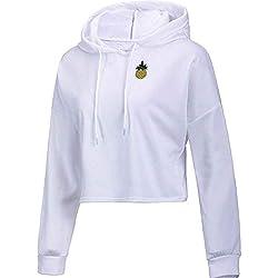 ZFFde Sudaderas con capucha mujer invierno Camiseta estampada de manga larga con estampado de piña de manga larga (Color : White, tamaño : XL)