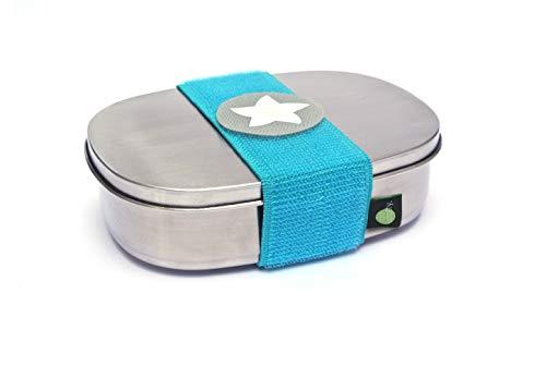do dotty BOX schadstofffreie Edelstahl Brotdose (16,5x12x4) mit Trennsteg und Klettmotiv zum individualisieren für Kindergarten und Schule (türkis)