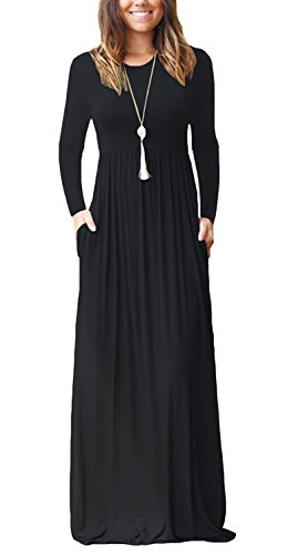 PCEAIIH Women Long Sleeve Loose Plain Maxi Dresses Casual Long Dresses with Pockets