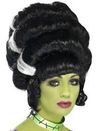 frankie Frankensteins Braut Perücke schwarz-weiß hohe Haare Halloween ()