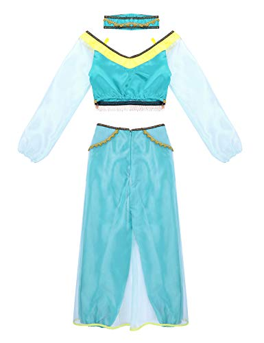 Agoky Damen Prinzessin Kostüm Langarm Crop Top mit Hose Stirnband Set Karneval Fasching Verkleidung Cosplay Kostüme 3 Teillig Türkis Large (Cartoon-figur-kostüme Für Frauen)