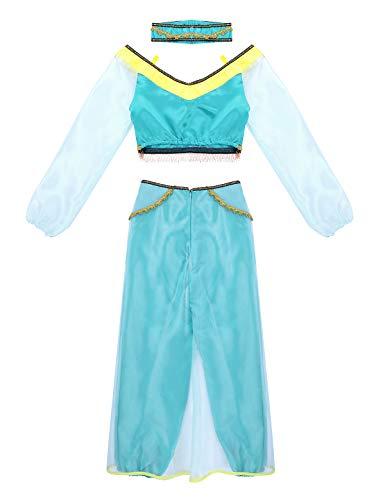 Agoky Damen Prinzessin Kostüm Langarm Crop Top mit Hose Stirnband Set Karneval Fasching Verkleidung Cosplay Kostüme 3 Teillig Türkis Large