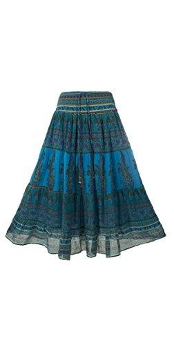 Coline - Jupe longue indienne doublée Turquoise