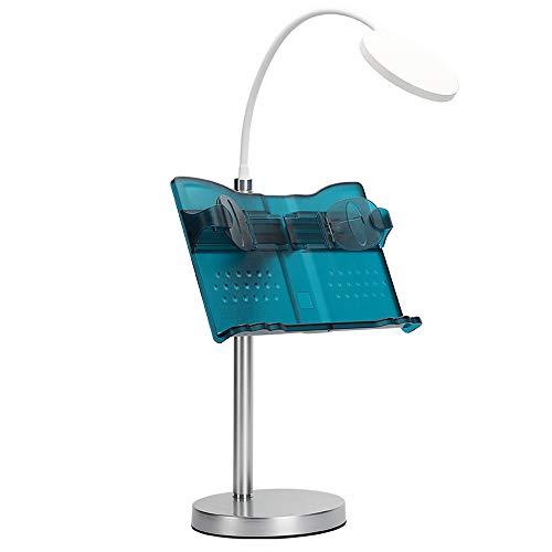 Bücherregal-regler (Tischplatten Lesegestell tragbare anhebende erwachsene lichtdurchlässige blaue und grüne Bücherregal mit Tischlampe des Augenschutz-LED kreative einziehbare bequeme Einstellungs-Taste)
