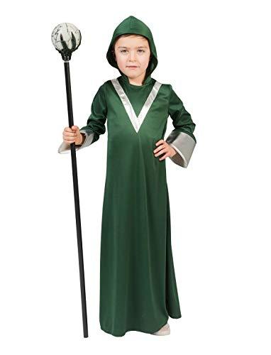 Halloweenia - Jungen Kinder Kostüm, Magier Hexer Zauberer Alien, Alter Weise, perfekt für Halloween Karneval und Fasching, 116, (Hexer Kostüm Kinder)