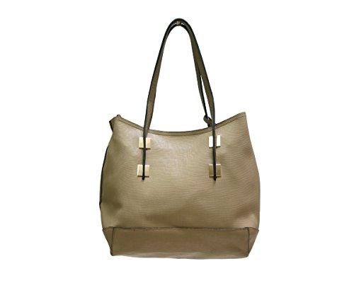 JustGlam - Borsa donna shopping in ecopelle con doppi manici e tracolla art 3230-5 beige