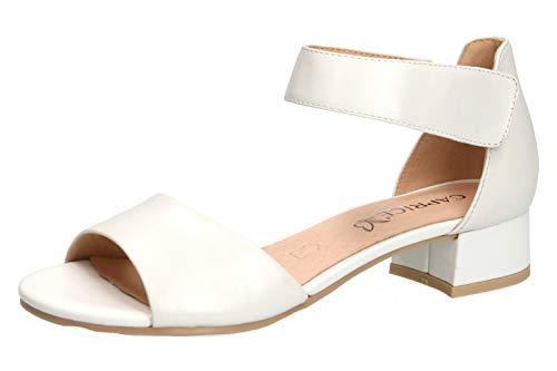 CAPRICE 28212-22 Damen Sandaletten,Sommerschuh,Riemen,elegant,feminin,Leichter Absatz,(139) White Perlato,40.5 EU / 7 UK -