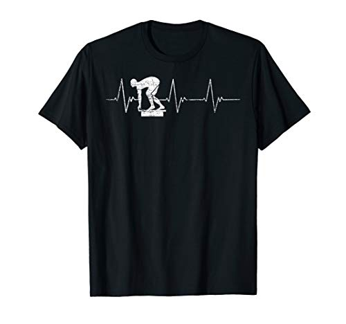Startblock Schwimmer Geschenkidee Herzlinie Schwimmen T-Shirt