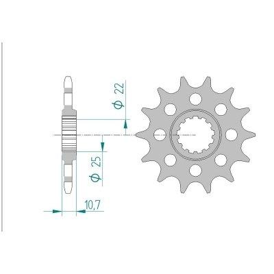 AFAM Ritzel Teilung 520 Zähne 15 für Yamaha YZF-R6 600 H, RJ155, Bj. 2011 | Maße Welle: 22/25mm | Höhe/Versatz: 10,7mm | Racing-Löcher (R6 Yamaha 520-ritzel)