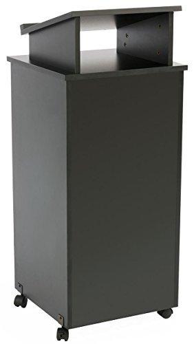 displays2go Rolling Holz Podium, 111,8cm H, feststellbare Rollen, 2Regal offen Schrank, Oberfläche mit Lippe, schwarz (lcttblrlsb) -
