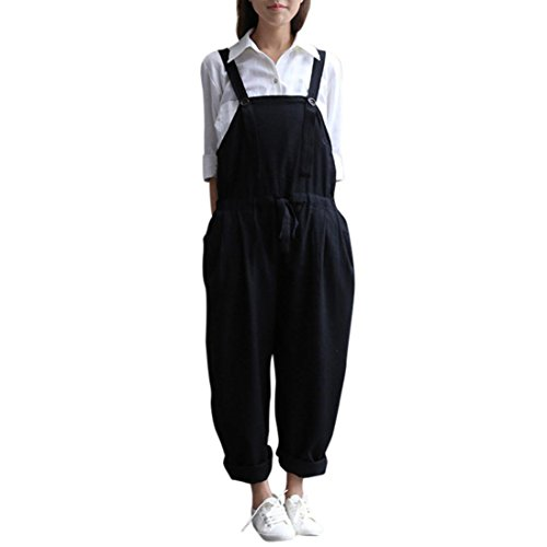 Damen Jumpsuit LSAltd Frauen Plus Size Button Jumpsuit Lätzchen Lose Casual Lange Hosen Hosen Overall (Schwarz, (Plus Overall Size Für)